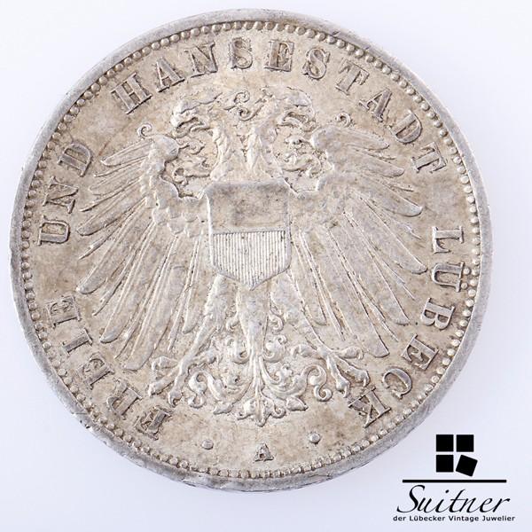 3 Mark Lübeck 1908 mind. SS Prägestätte A tolle Patina