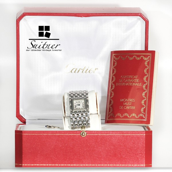 Cartier Panthere Ruban Stahl mit Perlmutt Zifferblatt - Fullset mit Box und Papieren