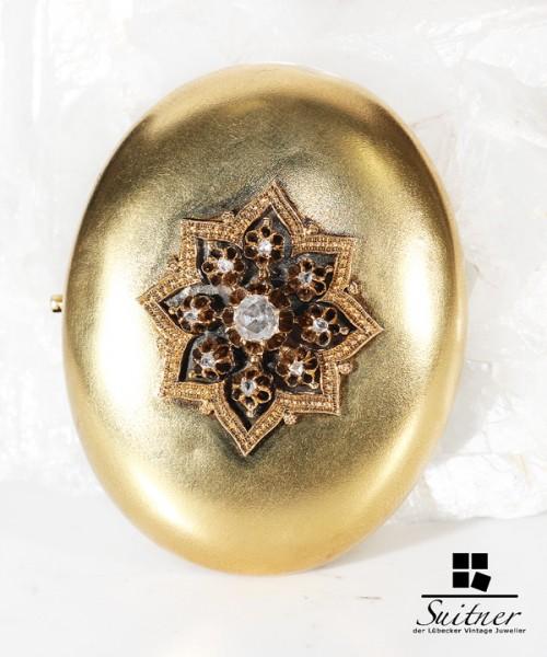 große ovale Biedermeier Brosche aus Gold mit Diamanten