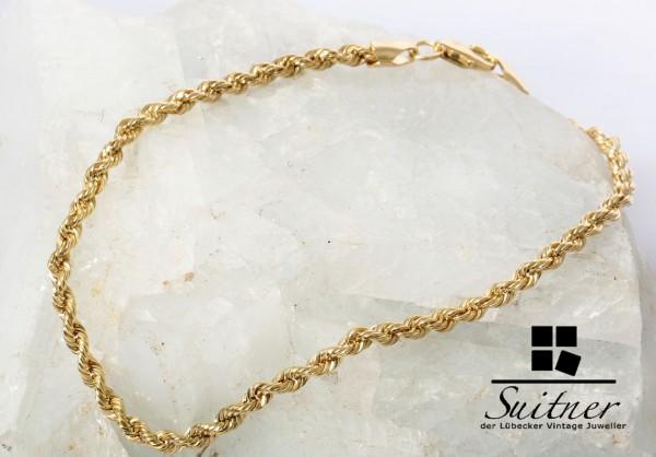 Armband Kordel 375 Gold 19 cm Singapur Design neuwertig Bracelet