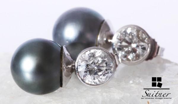 3,60ct. Brillanten Tahiti Perlen 12mm Weißgold 585 Solitär Ohrstecker XL Luxus