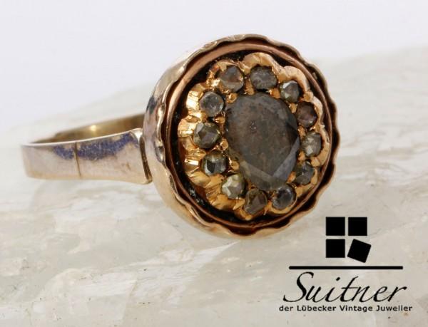 Antiker 1,20ct. Diamant Ring um 1800 aus Gold Altschliff Rosen Gr. 58