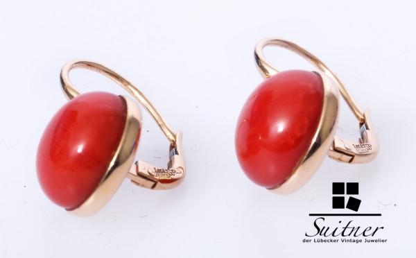 Original Leo Pizzo Italien Korallen Ohrhänger aus 750 Gold Coral Red