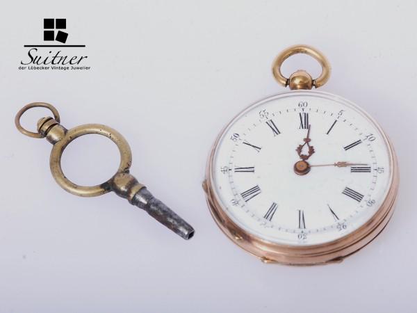 Taschenuhr open Face 585 Gold mit Schlüssel um 1900 antik