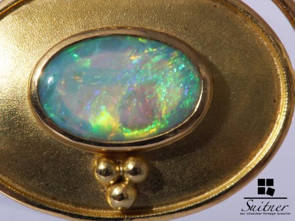 Voll Opal Anhänger / Brosche Handgefertigt aus Gold