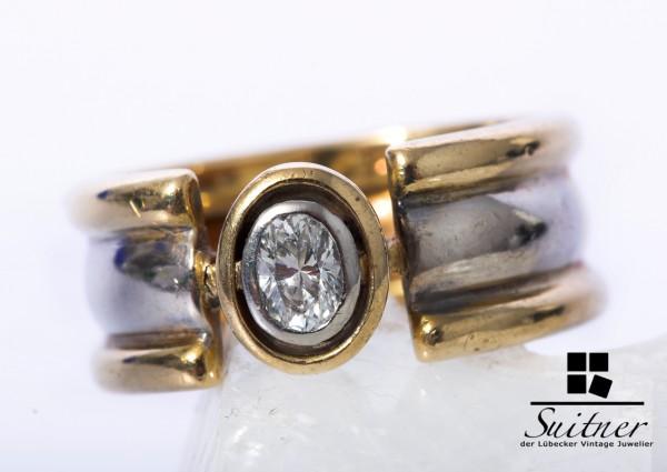 wertvoller Diamant Ring 750 Gold Weißgold Gr. 55 ovaler Brillant RAR
