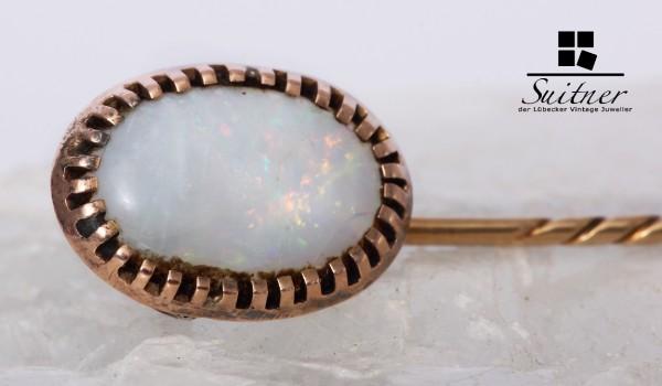 Hutnadel / Reversnadel aus Gold weißen Opal 585 Gold Anstecknadel