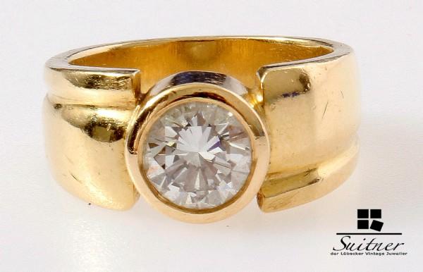 Luxus pur - Solitär 1,63ct Brillant Ring 750 Gold Gr. 56 XL Bandring