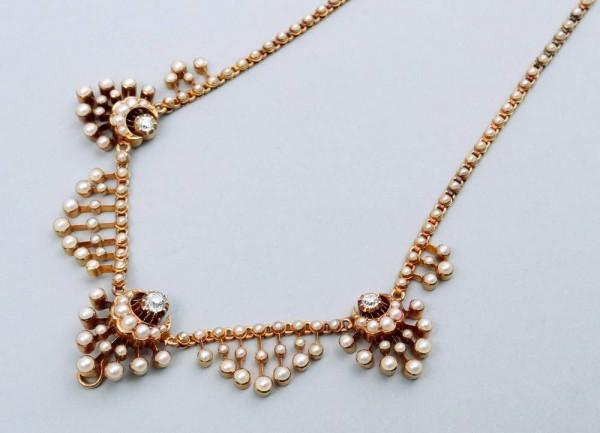 antikes Viktorianisches Collier England um 1880, Diamanten, Gold und Perlen