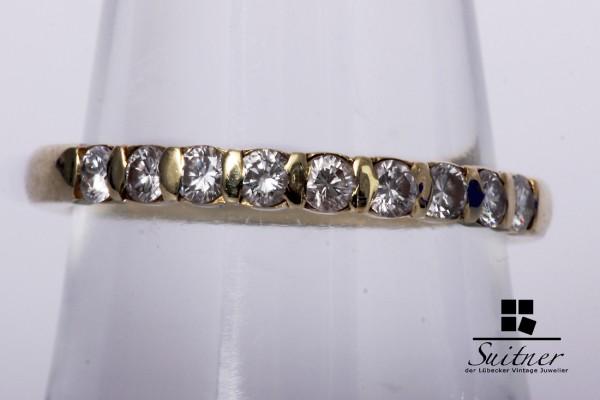 Alliance Ring mit 9 Brillanten zus. 0,45 ct. 585 Gold Gr. 55
