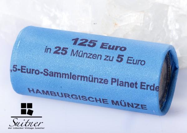 5 Euro Rolle Planet Erde 2016 - J - Hamburg 25 Stück bankenfrisch