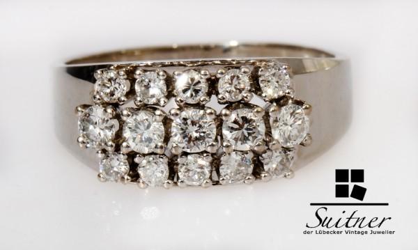 Vintage Cluster Ring mit 0,75ct Brillanten aus 585 Weißgold Gr. 56 Top Wesselton E