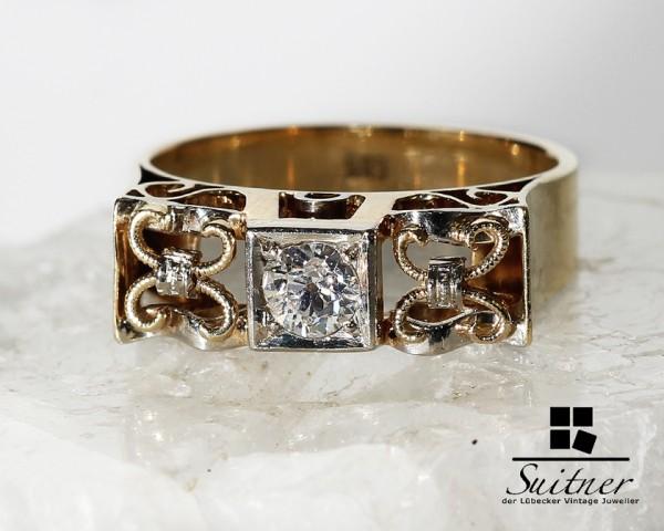 Antiker Diamant Ring aus 585er Gelbgold Größe 57