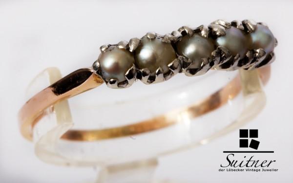 Antiker Perlen Ring 585 Roségold Gr.58 wohl 5 Naturperlen Jugendstil