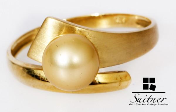 großer Perlen Ring mit goldener Perle Champagner 585 Gold Gr. 65