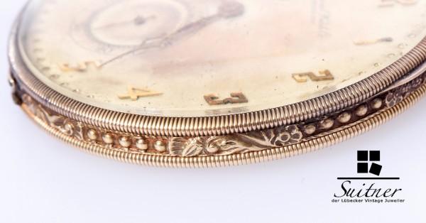 seltene IWC Art Deco Taschenuhr Jahr 1923 585 Gold Luxus Gehäuse Cal 73
