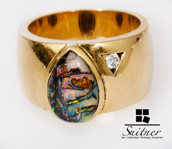 massiver 750 Gold Ring mit Black Opal Boulder und Brillanten 18,6g Design