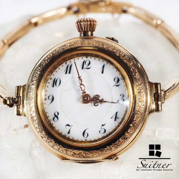 antike Taschenuhr Umbau zur Armbanduhr 585 Gold Mariage Uhr Jugendstil