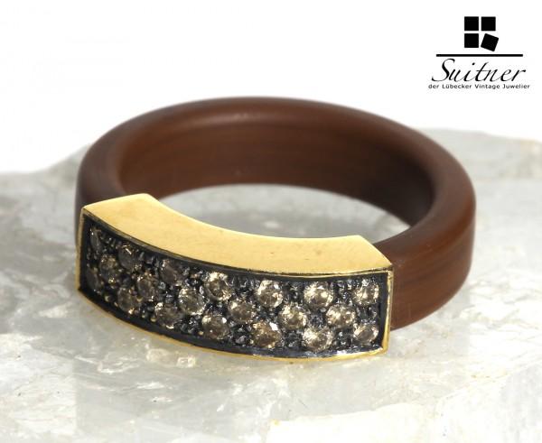Luxus Fashion Ring brauner Kautschuk und 750 Gold und 0,35ct. Brillanten