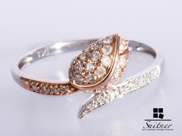 moderner 585 Weißgold / Roségold Ring Diamanten Rosé Gr 65