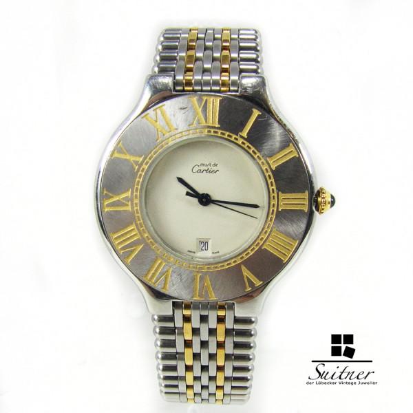 Must de Cartier 21 Stahl / Gold 35mm XL Datum Luxus Uhr