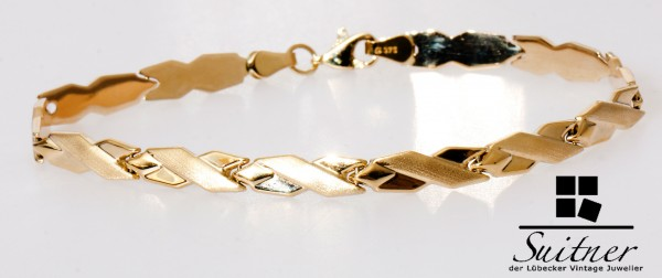 modernes Gold X Design Goldarmband Matt Glanz Gelbgold 19cm