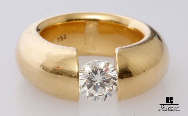 XL Spannring mit 1,50ct. Brillant 750 Gold Gr. 55 Solitär Ring Gutachten