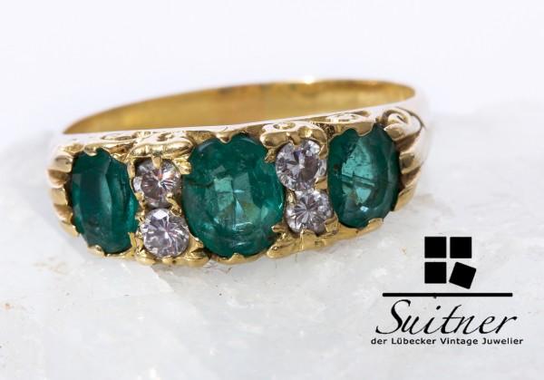 prächtiger 1,95ct. Smaragd Brillant Ring 750 Gold Gr. 57 Jugendstil Handarbeit