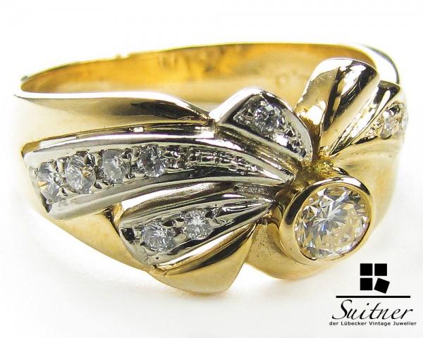 Eleganter Jugendstil Ring mit 0,33ct Brillanten 585 Gold Gr 57 florale Schleifen