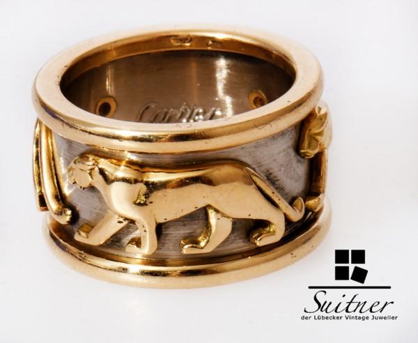 Cartier Panthere Ring 750 Gold und Weißgold RG 50 sehr selten