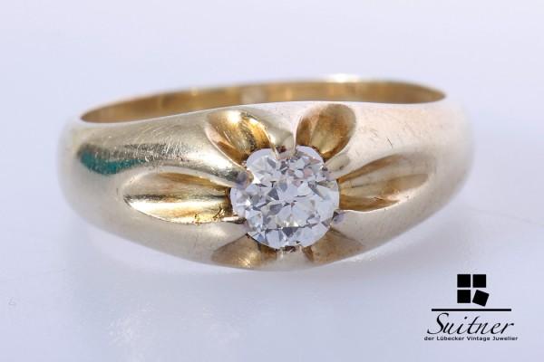 klassischer Bandring 0,35ct. Diamant Ring im Altschliff 585 Gold Gr. 53