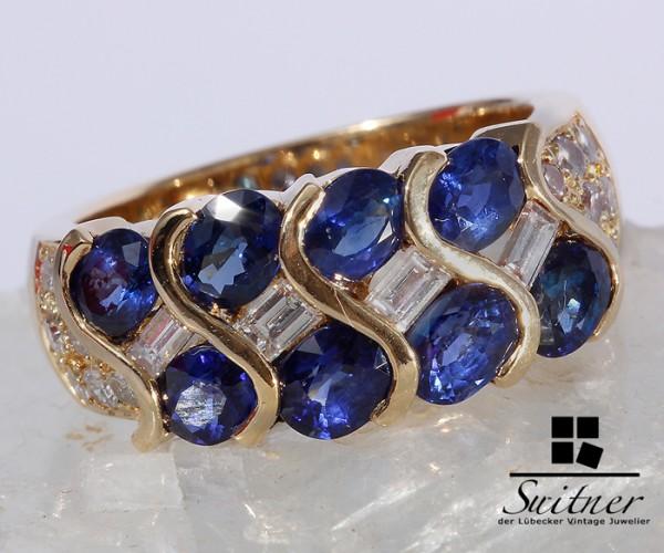 wertvoller Saphir Ring Brillanten 750 Gold Gr 53 Kornblumen Blau