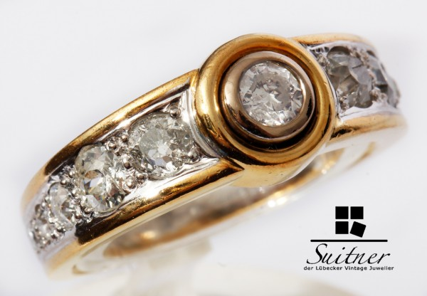 antiker 1,54ct. Diamant Ring 585 Gold Gr 58 massiver Bandring Unikat