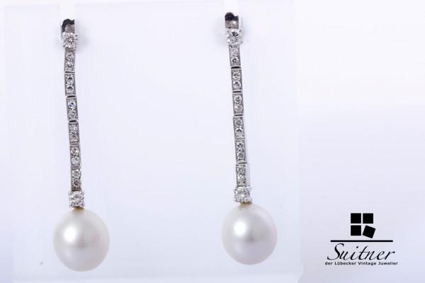 Ohrstecker Hänger Brillanten Diamanten Südseeperle 585 Weißgold