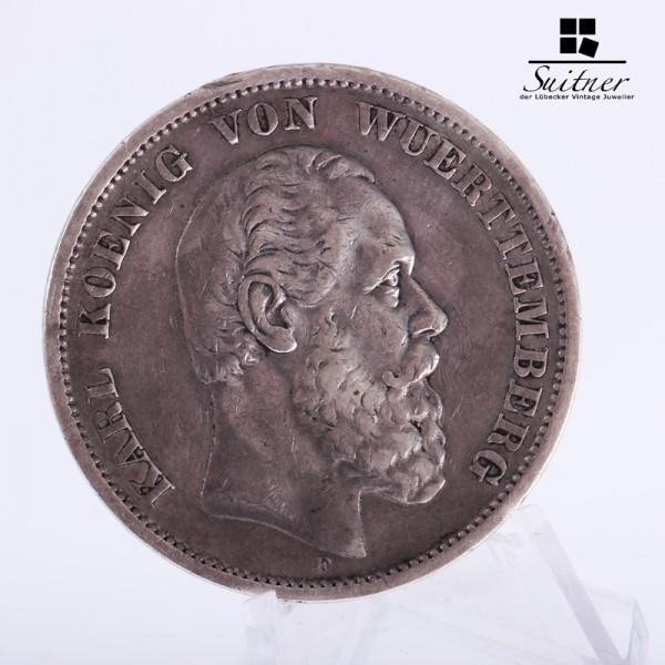 5 Mark Württemberg 1875 König Karl F ss