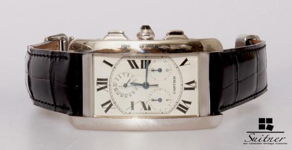 Cartier Tank Americaine Chronograph 750 Weißgold 2312 Chronoflex
