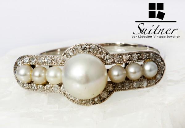 antiker Art Deco Platin Ring mit Perlen und Diamantbesatz wertvolles Unikat