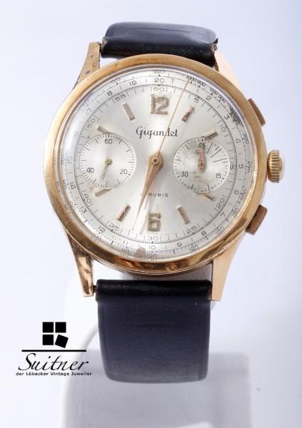 Gigandet Chronograph 750 Gold 40er Jahre Landeron 248 Swiss