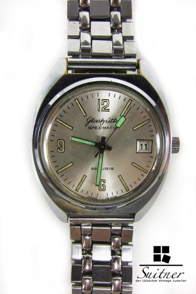 Glashütte Spezimatik automatik Herren Uhr Kal. 75 GuB Stahl DDR Vintage