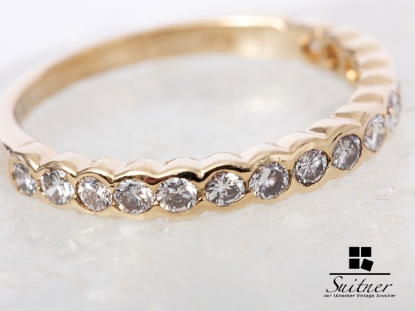 wunderschöner Memoire Brillant Ring 585 Gold 0,62 ct. Gr. 54