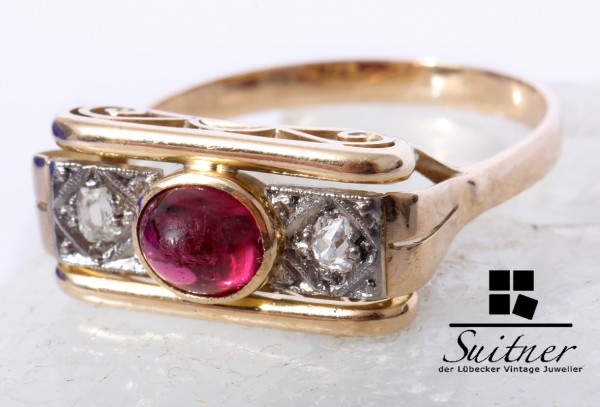 Art Deco Ring 585 Gold roter Turmalin Diamanten im Altschliff Gr. 58