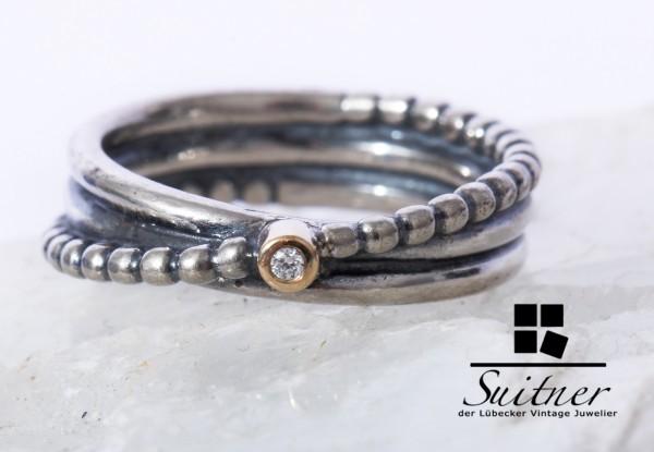 Pandora Ring 925 Silber 585 Gold mit Brillant Gr. 50