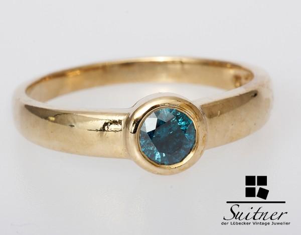 Fancy Blauer Brillant Ring ca. 0,55ct. Halbkaräter Solitär Gold 585 Gr 66