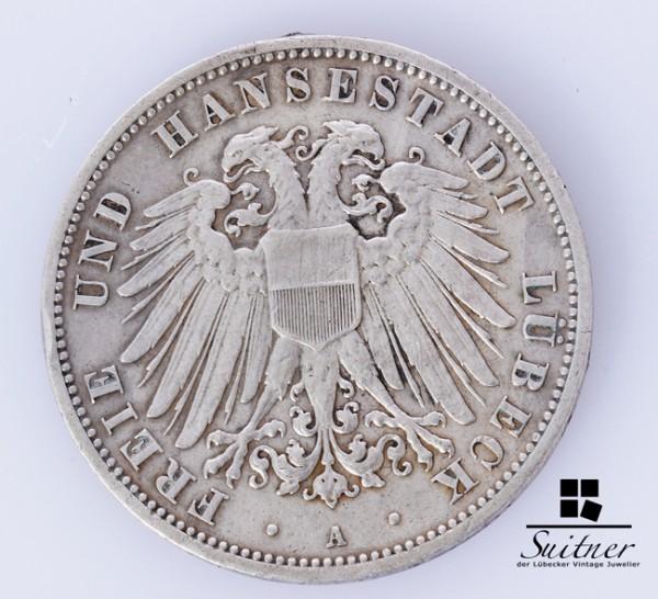 Hansestadt Lübeck 3 Mark 1909 Prägestätte A SS