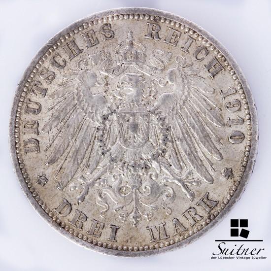 3 Mark Hansestadt Lübeck 1910 Prägestätte A SS-VZ