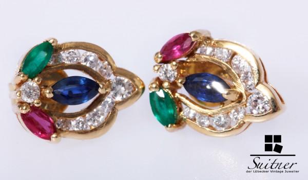 Ohrringe Ohrstecker Rubin Smaragd Saphir viele Brillanten 750 Gold