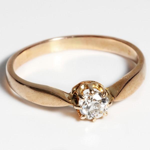 antiker Ring Jugendstil Diamant ca. 0,35 ct. 585 Gold Klassiker