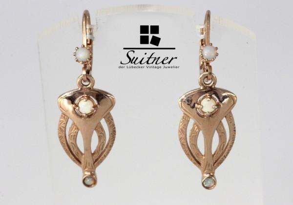 Ohrhänger Silber rosévergoldet Jugendstil Art Nouveau mit Opal