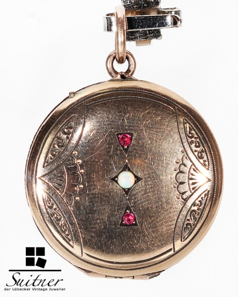 feines antikes Medaillon Biedermeier Gold Opal und Rubine