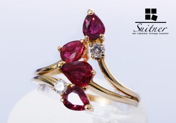 Luxus pur - 2,54ct. Burma Rubin Ring Brillanten 750 Gold Gr. 58,5